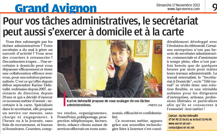Article La Provence nov 2013